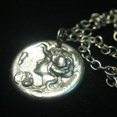 Water Lily Goddess Pendant Necklace Art Nouveau in Antiqued Silver Brass
