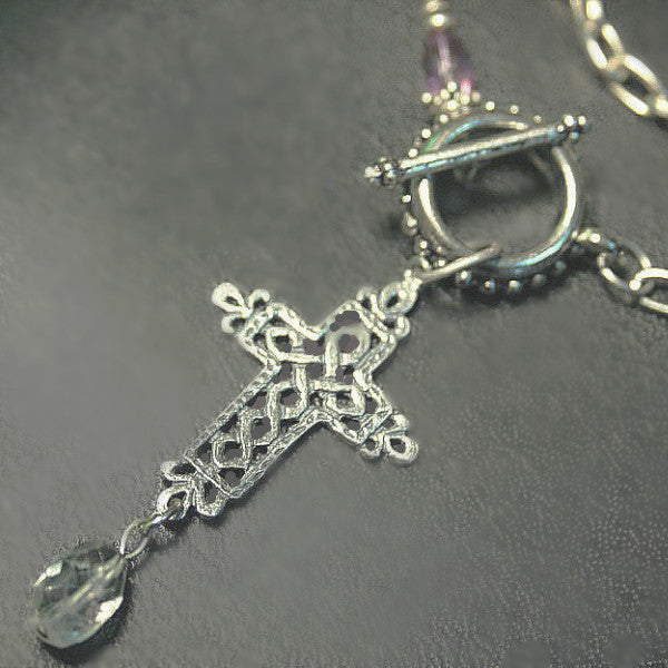 Celtic Cross choker with faceted Quartz Crystal Drop Toggle Clasp