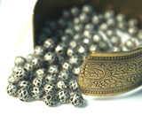 Diamond Pattern Filigree Antique Silver Brass Beads