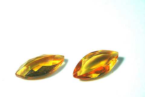 Czech stones, Amber gold topaz VINTAGE glass faceted - Marquise shape
