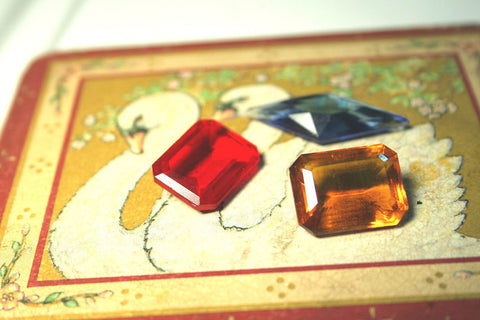 Vintage German faceted stones, Ruby Siam, and Golden Topaz, Sapphire VINTAGE glass - 25 percent off special