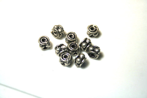 Solid Copper Fancy Bali style spacer Bead Oxidized SILVER Plated .5mm (12)