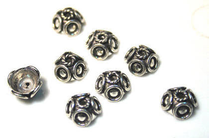 Oxidized SILVER Plated Solid Copper Bead Caps Fancy Bali style 9.5mm