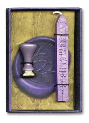 Stationary Supplies Sealing Wax Kit, Celtic Wicca Triquetra Stamp Design - Power of Three - Purple wax  personalized customized invitations