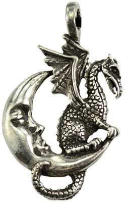 "Rennaisance Dragon on the Moon ""Celestial Dragon Gaurdian"" Amulet Genuine Pewter Pendant Charm 2 bottom link connectors"