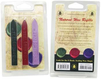 Stationary Supplies Sealing Wax Kit, refill kit - Red Purple Green Wax Sticks include wick