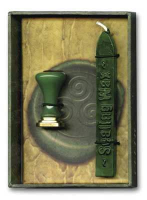 Stationary Supplies Sealing Wax Red with wick Kit, Celtic Wicca Stamp Design -personalize customize invitations