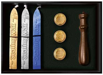 Renaissance Era Deluxe Sealing Wax Kit asst Celtic Wicca Stamps Sun Tiple moon, Celtic Knot - Gold Silver and Blue Wax sticks