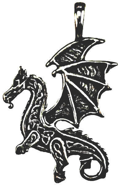 Old World Style Renaissance Dragon Pendant  Amulet Necklace Genuine Pewter casting