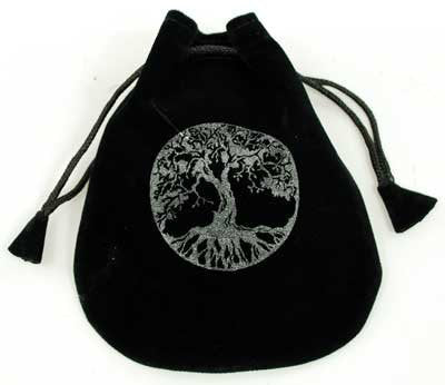 Tree of Life Velveteen Drawstring Gift Bag to hold Runestones Sacred Treasures Crystals Favors Rune set