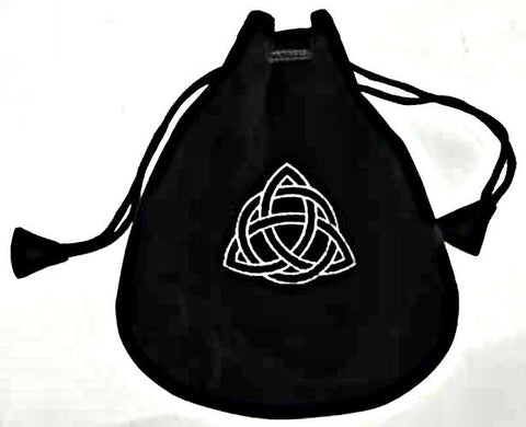 The Celtic Triquetra Velveteen Drawstring Gift Bag to hold Runestones Sacred Treasures Crystals Favors Runestones