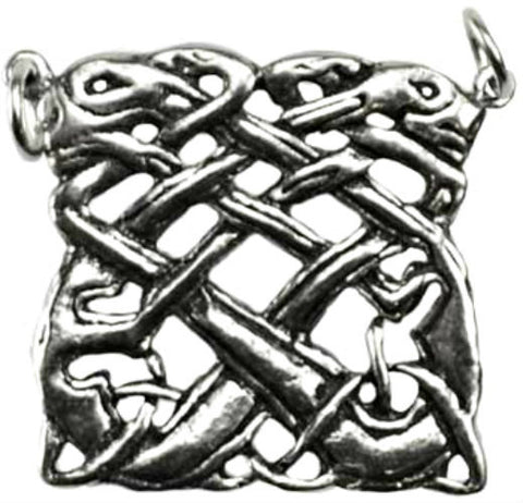 Heron and Crane Celtic Knot work necklace antiqued pewter pendant beautiful in-twined knot work