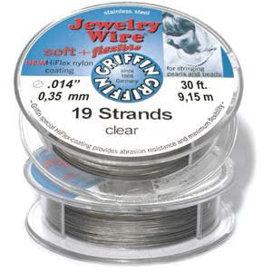 Jewelry wire multi strand for flexibility standard .014 clear 30 Ft spool