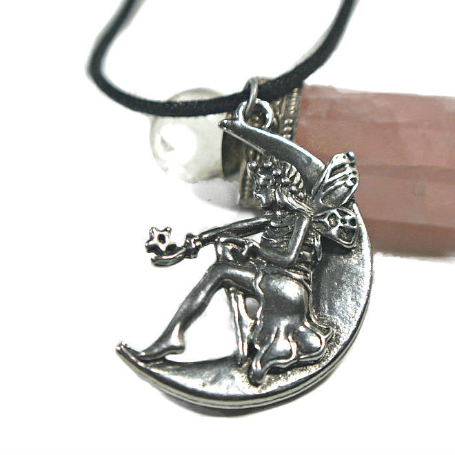 Moon Beam Fairy on the Moon Pendant cast in fine antiqued Pewter
