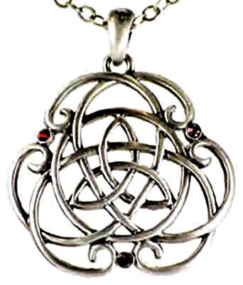 Pewter Pendant Triquetra Celtic Knotwork Amulet Talisman with a double triquetra embellished with tiny red jewels