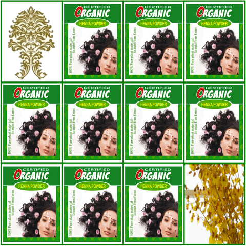 10 Boxes. Certified Organic Henna. Golden Brown Hair Color. 100g Ea.