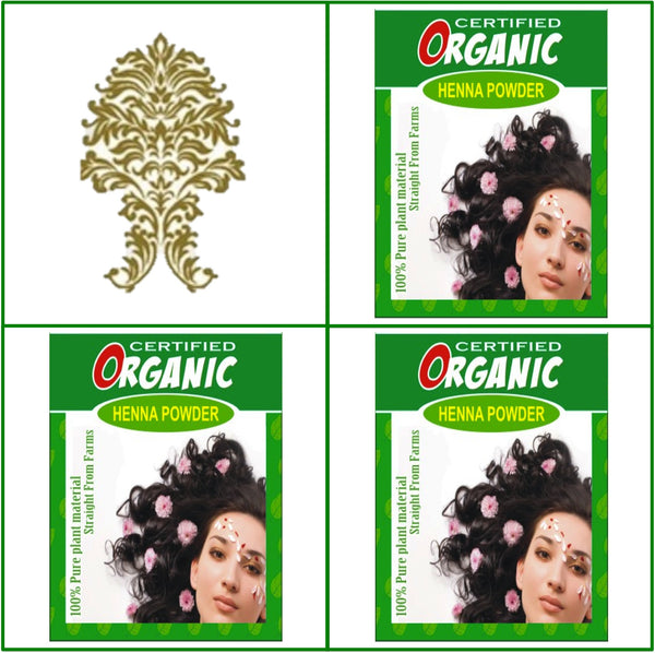 3 Boxes. Certified Organic Henna. Golden Brown Hair Color. 100g Ea.