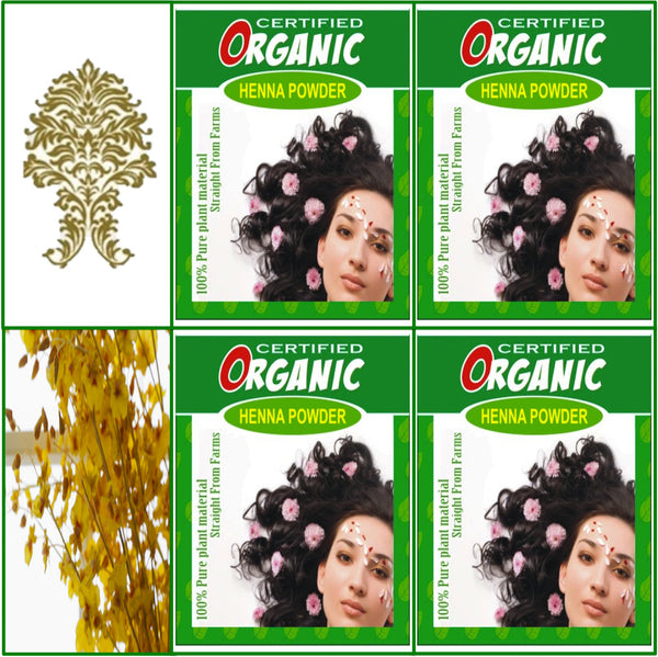 4 Boxes. Certified Organic Henna. Golden Brown Hair Color. 100g Ea.