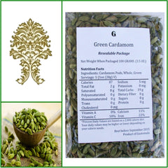 ONE Bag. Natural Green Whole Cardamom Pods. Extra Fancy Grade! 100g.