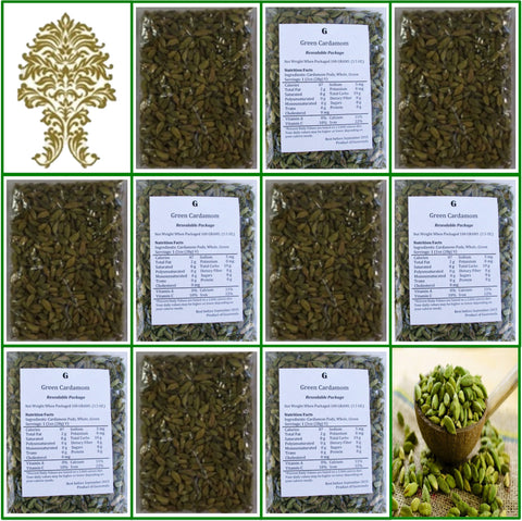 10 Bags. Natural Green Whole Cardamom Pods. Extra Fancy Grade! 100g Ea.