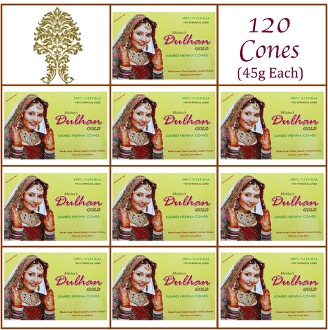 10 Boxes. Dulhan Gold Henna Paste. 120 Jumbo Cones, 45g Ea.