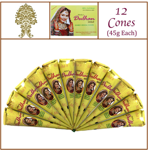 12 Jumbo Cones. Dulhan Gold Henna Paste. No Chemicals No PPD. 45g Ea.