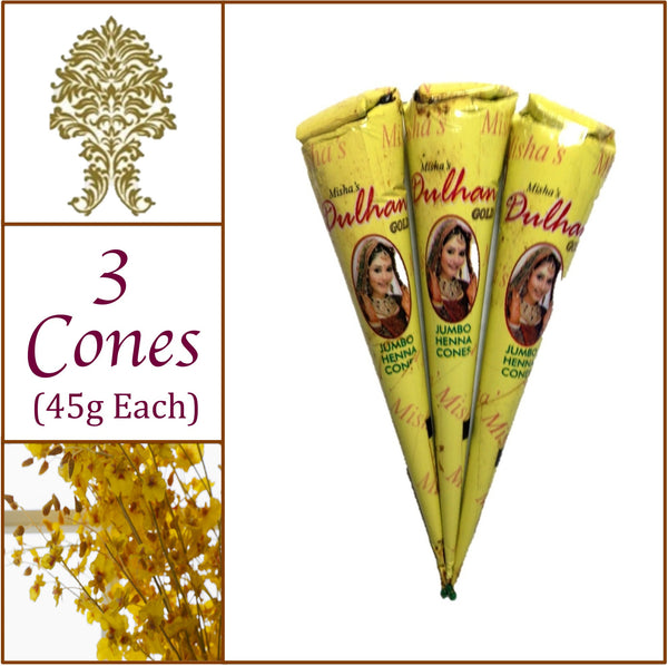 3 Jumbo Cones. Dulhan Gold Henna Paste. No Chemicals No PPD. 45g Ea.