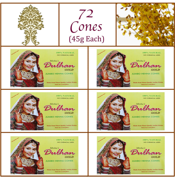 6 Boxes. Dulhan Gold Henna Paste. 72 Jumbo Cones, 45g Ea.