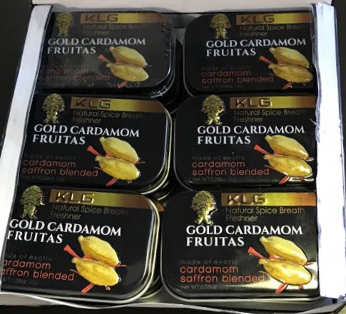 6 Tin Metal Gold Cardamom Fruitas ( 8gm )