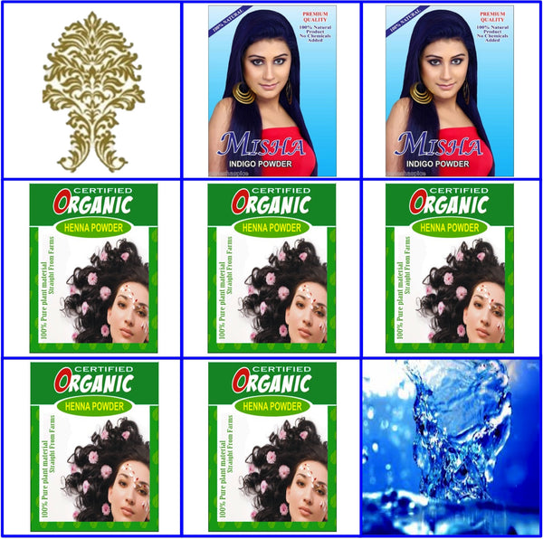 (2) Pure Indigo + (5) Certified Organic Henna Hair Color. 100g Ea.