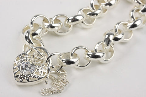 Chunky Belcher Bracelet with Locket Silver