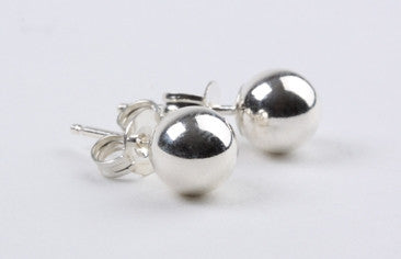 6mm Bead Earrings Silver