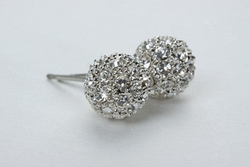 Pave Ball Earrings Silver