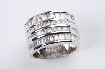 Rows of Baguettes Ring Silver