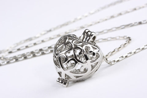 Fancy Filigree Heart Pendant Silver