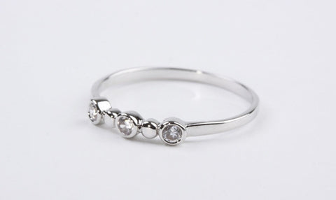 Dainty Three Stone Silver