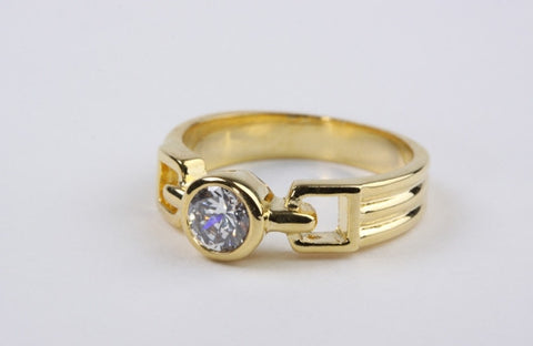 Ribbed Solitaire Ring Gold