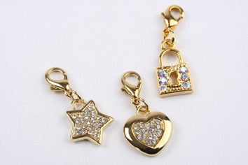 Heart, Star & Padlock Charms Gold
