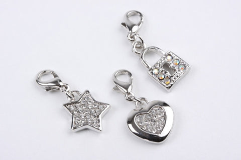 Heart, Star & Padlock Charms Silver