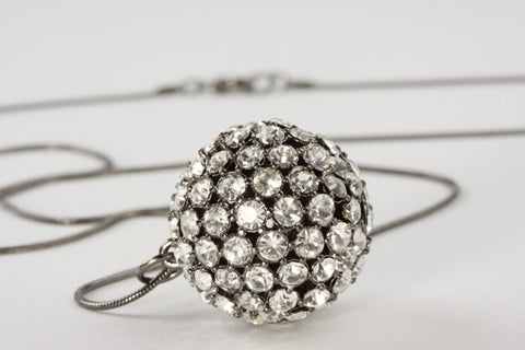 Vintage Sphere Pendant Antique Silver