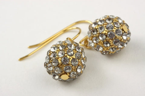 Antique Pave Drop Earrings Gold