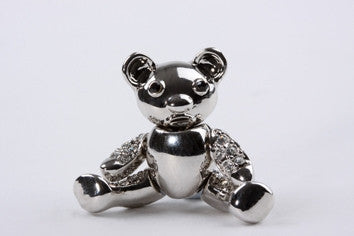 Teddy Bear Brooch Silver