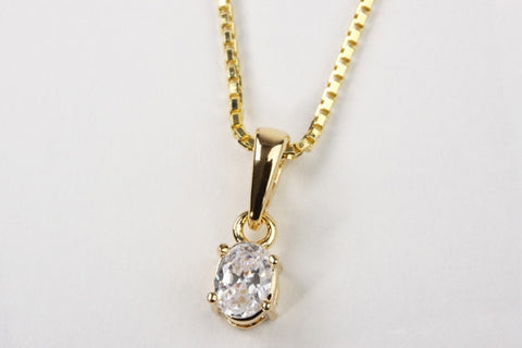 Oval CZ Pendant Gold