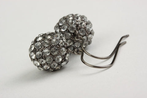 Antique Pave Drop Earrings Silver