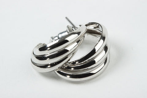 Triple Hoops Earrings Silver