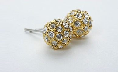 Pave Ball Earrings Gold