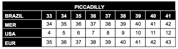 Piccadilly Size Chart Brazilian Shoes Nz