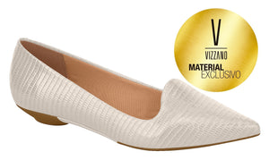 Vizzano 1131.529-1213 Women Brazilian Imprint Cream Flat Lizard Moccasin