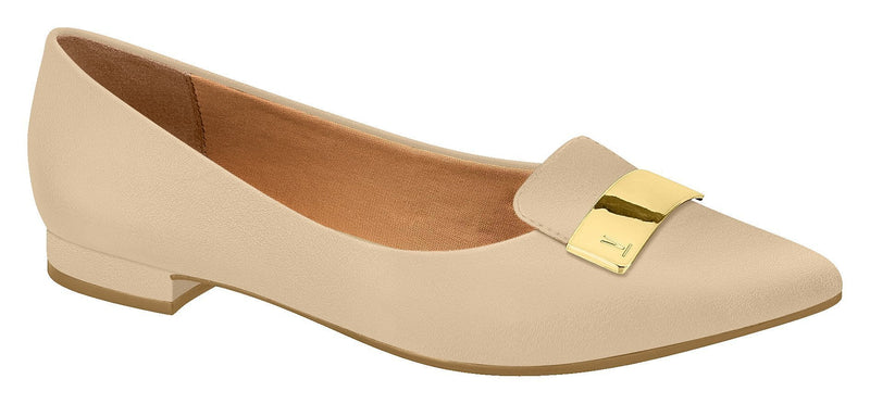 Vizzano 1206.237-1216 Classic Pointy Toe Flat Moccassin in Beige