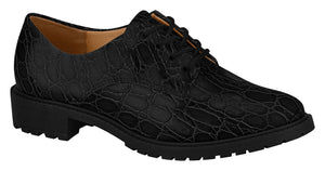 Women London Style Comfortable Shoe Low Heel in Croco Black 1317.100